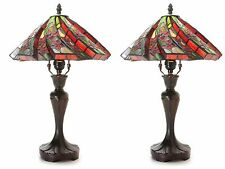"""2 Table Lamps 17"""" High Handmade Stained Red Flower Glass Shade Tiffany Style Set"""