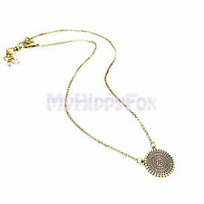 Lucky Brand Antiqued Gold Tone Tribal Medallion Coin Disc Pendant Necklace