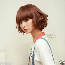 100% Real Hair! New Fashion Girls Short Light Brown Curly Human Hair Wigs