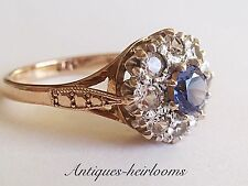 Vintage 9ct Gold Blue Topaz Cluster Ring Full English Hallmark 9ct 375 Quality