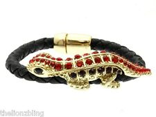 Hip Hop Urban Braided Black Leather Bracelet Red Crystal Bling Lizard / Gecko
