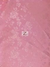 "FLORAL ROSE JACQUARD SATIN FABRIC - Dark Pink - 60"" WIDTH SOLD BY THE YARD"