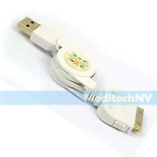 Retractable USB Sync Data Charging Cable White for iPhone 4 4S iPod 4G 4th Gen