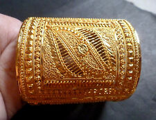 "22K Gold Plated 4"" Wide 2.8""/2.10"" Bracelet Bangle Mantasa Indian Set"