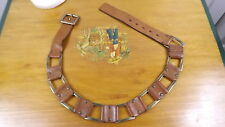 """Sz 36 Juicy Couture Brown Leather Brass Link Belt 1.75"""" Wide"""