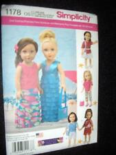 "18"" DOLL 6 Modern Clothes NEW Simplicity 1178 Pattern Fits American Girl"