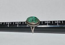 VINTAGE SOUTHWESTERN STERLING SILVER AND NATURAL BISBEE TURQUOISE RING