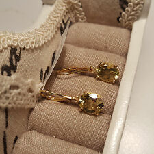Beautiful Ouro Verde Quartz leverback earrings in 14k gold over Sterling silver
