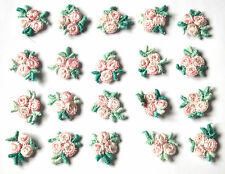 20x Pink Rose Flower 2cm Embellishments Sewing Craft Scrapbook Cards Knitting