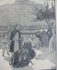 vers 1925 gravure style art déco Maggie Salcedo scène de vie sortie au parc