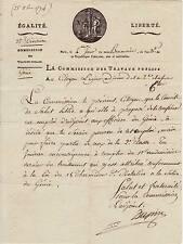 COMMISSION des TRAVAUX PUBLICS 1794 / Intéressante vignette