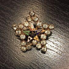 Eastern Star Rhinestone Brooch Enamel Pin Vintage Fraternal OES Order Of