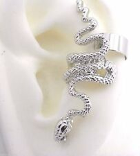 Snake Earring Ear Cuff With Piercing Silver Plated