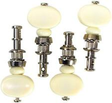 UKULELE PEG, Non-slip, SET OF 4. Nickel plated with white button. From Hobgoblin