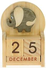 Elephant : Wooden Perpetual Calendar : Traditional Handmade Christmas and Birthd