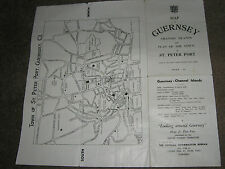 VINTAGE 1960s MAP OF GUERNESEY CHANNEL ISLANDS AND PLAN OF THE TOWN OF ST. PETER