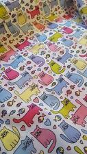 POLYCOTTON FABRIC NURSERY BABY CHILD PRINT BY THE METRE CATS NEW