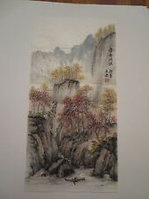 Original autumn mountain and trees watercolor painting on rice paper by L. Tao.