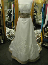 Mori Lee Wedding Dress #2178 size 16 Ivory satin Toffee sash Strapless A-line