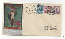 US 1932 Olympics Summer Opening Day Cover Olympic Village Cachet Sc 718 719 716