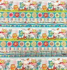 """Happy Flappers Owl Three Party Blue Stripe 100% cotton Fabric by the yard 36"""""""