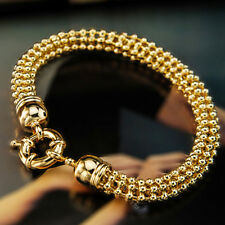 9K 9CT GOLD GF Womens 3D 7mm BALL Chain Wide BRACELET Bolt CLASP Jewellery S743