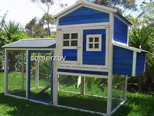 Chicken Coop Somerzby Blue Mansion Rabbit Hutch Cat Enclosure large covered run