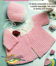 DAINTY Crochet on the Double Baby Sacque & Cap/Crochet Pattern Instructions