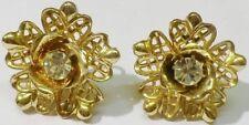 boucles d'oreilles à vis bijou vintage forme cristaux diamant couleur or * 5335