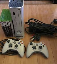Microsoft Xbox 360 White Console With 2 Controllers And 5 Games
