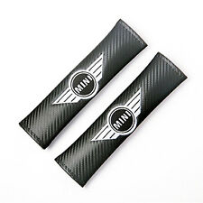 Carbon Fibre Fiber Effect seat belt shoulder pads for MINI. Cooper One Clubman