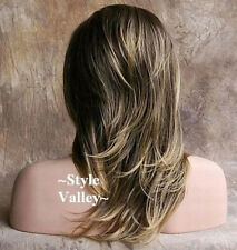 Brown Blonde 3/4 Fall Long Straight with Layered  wavy ends Half Wig Hair Piece