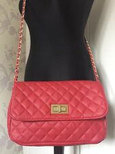 Red Quilted Shoulder Bag With Chain Strap
