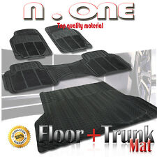 BLACK DURABLE RUBBER FLOOR AND TRUNK MAT 4PC COMBO JEEP CHEROKEE 90-99 00 01