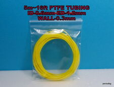 5m 16ft PTFE TEFLON TUBING PIPE ID-0.6mm  ED-1,2mm WALL-0.3mm  23AWG WIRE YELLOW