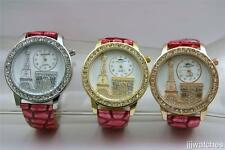 New Paris Eiffel Tower Stones 3D Dial Pink Leather Watch-Lot of 3 Watches-PET33
