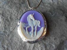 (LOCKET)-- UNICORN CAMEO LOCKET- LAVENDER/PURPLE .925 SILVER PLATED--QUALITY
