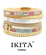 Luxus Leder Armband IKITA Paris  Ibiza Brasilien Magnetverschluss Herz Beige