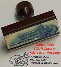 Celtic Cat Rubber Stamp With Your Custom Address