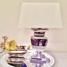 SILVER LADY 59 cm Tischlampe CREME Shabby Chic Tischleuchte Silber Keramiklampe