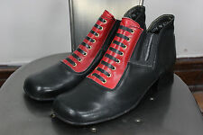 Vintage 60's leather boots 9.5 ankle shoes handmade in italy beatnik disco glam