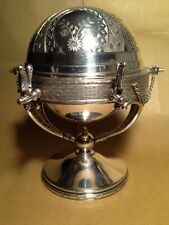 Vintage Triple Silver Plated Globe Top. Butter, Jam, Caviar  Rogers Bro Co. 4970