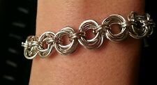 Handmade mobius flower silver chain maille bracelet. NWOT custom sizes
