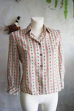 stunning vintage button linen floral ditsy mori girl natural blouse top UK10