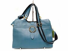 NWT Oryany Satchel Bag Turquoise Leather Golden Tone Hardware, 3 Compartments