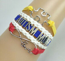 "Hot Infinity Love ""AUTISM MOM"" Puzzle Sign Charms Suede Leather Bracelet Custom"