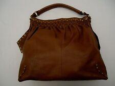 LUCKY BRAND GENUINE Pebble LEATHER handbag shoulder bag purse Hippie Hobo BROWN