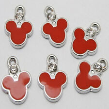 6pcs red enemal zircon mickey charms/pendants w1000