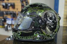 SCORPION EXO-R710 Illuminati Full Face Motorcycle Helmet Black/Green Size LARGE