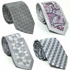 New Mens Grey Check Paisley Slim Design Italian Design Tie Weddings Party Gift
